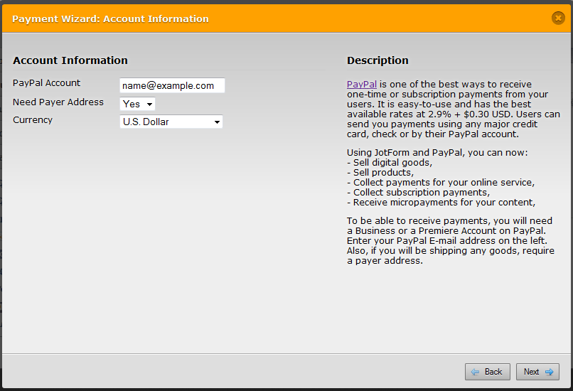 Paypal option in jotform