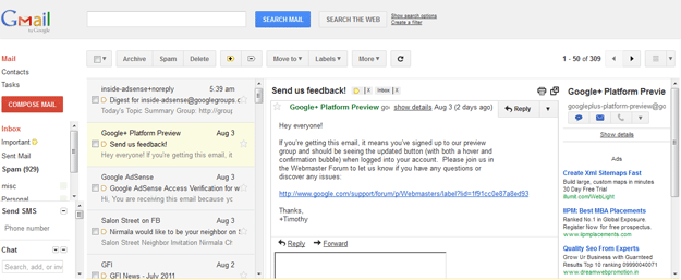 Preview pane new feature in gmail lab