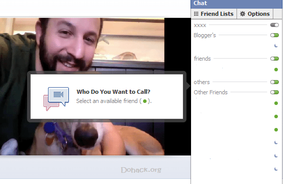 Select Friends in facebook for video call