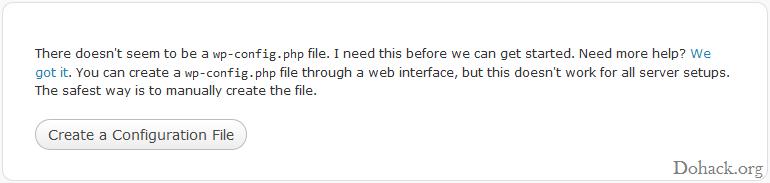Wordpress config error