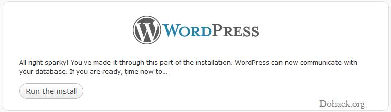Wordpress installtion