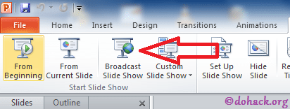 broadcast slide show option in PowerPoint 2010